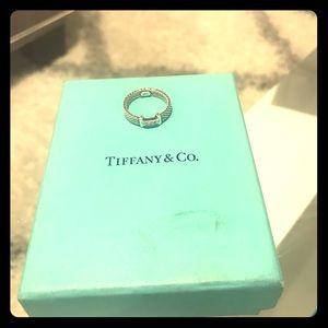 Tiffany & Co sterling 3 diamond mesh ring